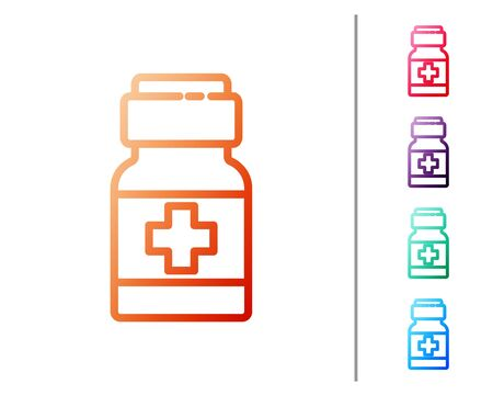 Red line Medicine bottle and pills icon isolated on white background. Medical drug package for tablet, vitamin, antibiotic, aspirin. Set color icons. Vector..