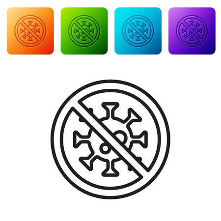 Black line Stop virus icon isolated on white background. Corona virus 2019-nCoV. Bacteria and germs, cell cancer, microbe, fungi. Set icons in color square buttons. Vector. 일러스트