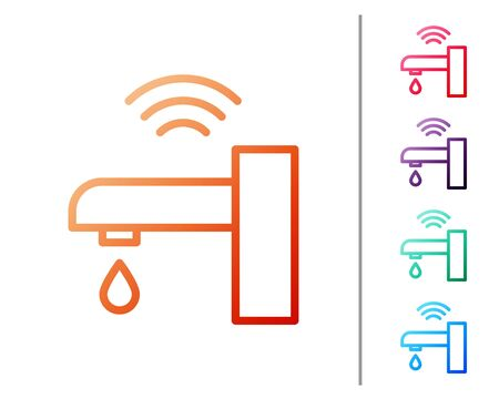 Red line Smart water tap system icon isolated on white background. Internet of things concept with wireless connection. Set color icons. Vector. Illustration