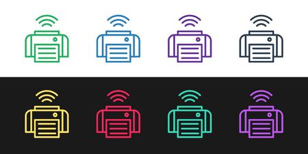 Set line Smart printer system icon isolated on black and white background. Internet of things concept with wireless connection.  Vector.