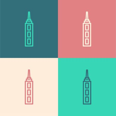 Pop art line Skyscraper icon isolated on color background. Metropolis architecture panoramic landscape. Vector.