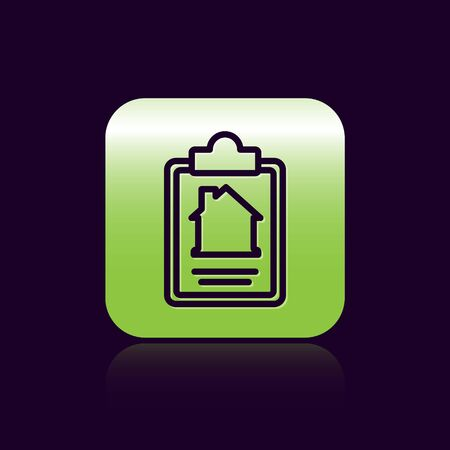 Black line House contract icon isolated on black background. Contract creation service, document formation, application form composition. Green square button. Vector. Illustration