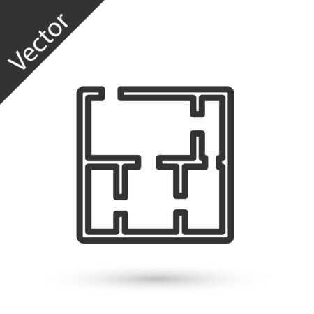 Grey line House plan icon isolated on white background. Vector. Illustration