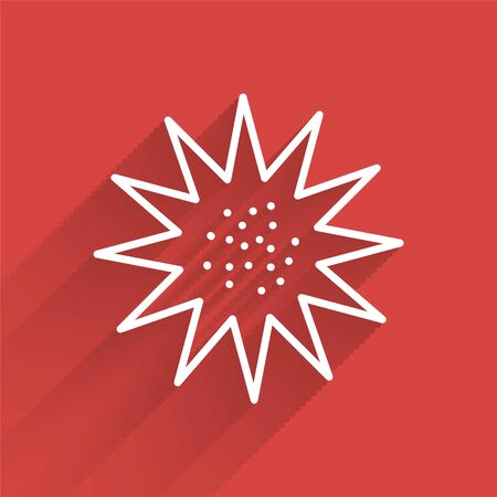 White line Sea urchin icon isolated with long shadow. Vector..