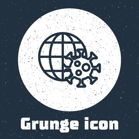 Grunge line Earth globe with virus icon isolated on grey background. Corona virus 2019-nCoV. Bacteria and germs, cell cancer, microbe, fungi. Monochrome vintage drawing. Vector.. Vettoriali