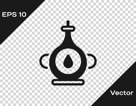 Black Oil bottle icon isolated on transparent background. Vector. Archivio Fotografico - 150294833