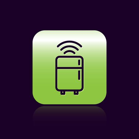 Black line Smart refrigerator icon isolated on black background. Fridge freezer refrigerator. Internet of things concept with wireless connection. Green square button. Vector.