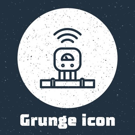 Grunge line Smart sensor system icon isolated on grey background. Internet of things concept with wireless connection. Monochrome vintage drawing. Vector. Illustration