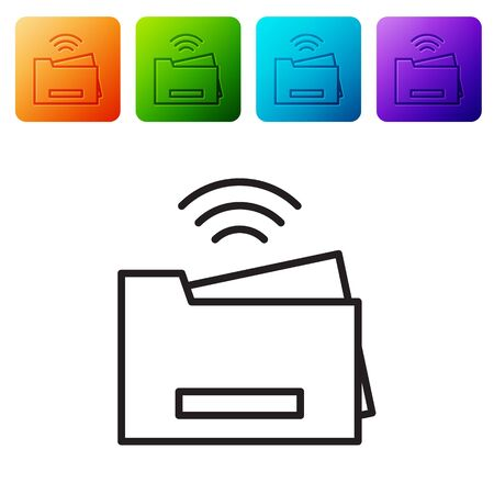 Black line Smart printer system icon isolated on white background. Internet of things concept with wireless connection. Set icons in color square buttons. Vector. Ilustração