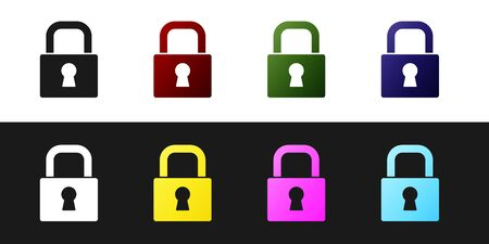 Set Lock icon isolated on black and white background. Padlock sign. Security, safety, protection, privacy concept.  Vector.  イラスト・ベクター素材