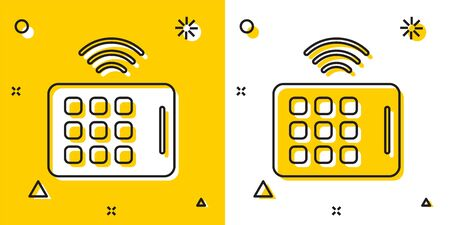 Black Wireless tablet icon isolated on yellow and white background. Internet of things concept with wireless connection. Random dynamic shapes. Vector.