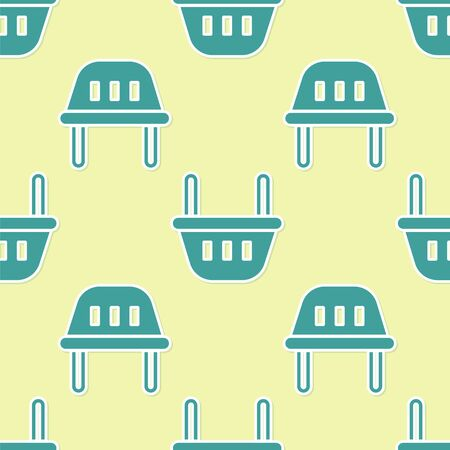 Green Shopping basket icon isolated seamless pattern on yellow background. Food store, supermarket. Vector Illustration.