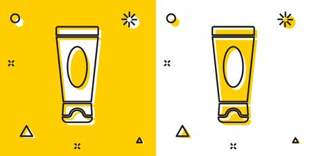 Black Cream or lotion cosmetic tube icon isolated on yellow and white background. Body care products for men. Random dynamic shapes. Vector Illustration. Ilustração