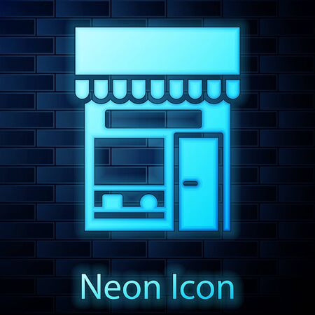 Glowing neon Shopping building or market store icon isolated on brick wall background. Shop construction. Vector Illustration.