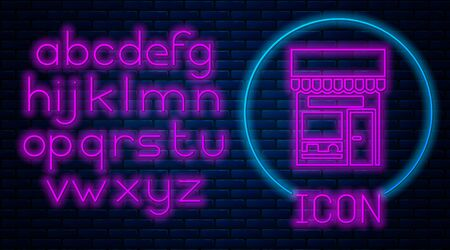Glowing neon Shopping building or market store icon isolated on brick wall background. Shop construction. Neon light alphabet. Vector Illustration. Standard-Bild - 150457020