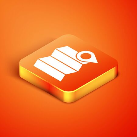 Isometric Location of the forest on a map icon isolated on orange background. Vector Illustration. Illustration