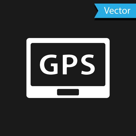 White Gps device with map icon isolated on black background. Vector Illustration.