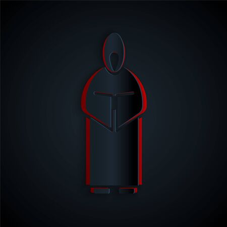 Paper cut Monk icon isolated on black background. Paper art style. Vector Illustration. Ilustrace