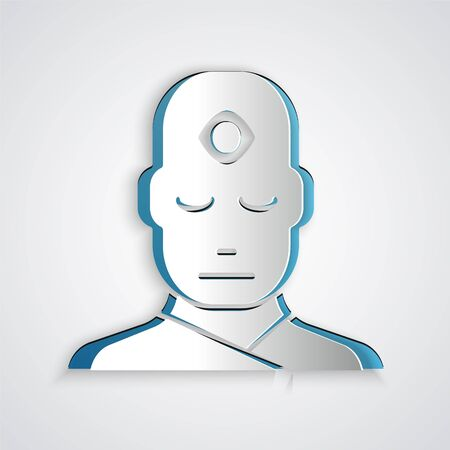 Paper cut Man with third eye icon isolated on grey background. The concept of meditation, vision of energy, aura. Paper art style. Vector Illustration. Vettoriali