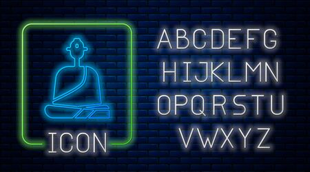Glowing neon Buddhist monk in robes sitting in meditation icon isolated on brick wall background. Neon light alphabet. Vector Illustration.