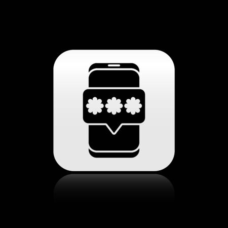 Black Mobile and password protection icon isolated on black background. Security, safety, personal access, user authorization, privacy. Silver square button. Vector Illustration. Vettoriali