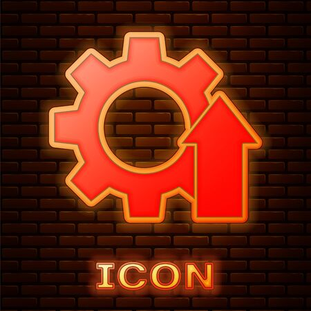 Glowing neon Arrow growth gear business icon isolated on brick wall background. Productivity icon. Vector Illustration.