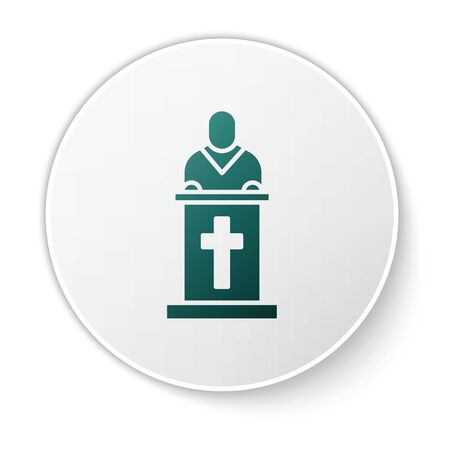 Green Church pastor preaching icon isolated on white background. White circle button. Vector Illustration. Vettoriali