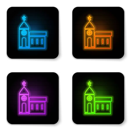 Glowing neon Church building icon isolated on white background. Christian Church. Religion of church. Black square button. Vector Illustration.