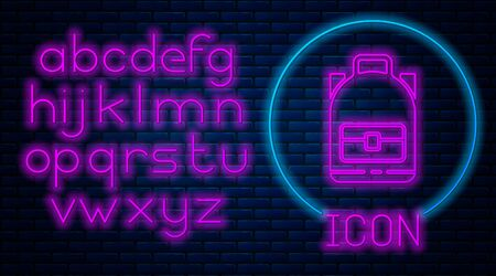 Glowing neon Hiking backpack icon isolated on brick wall background. Camping and mountain exploring backpack. Neon light alphabet. Vector Illustration.