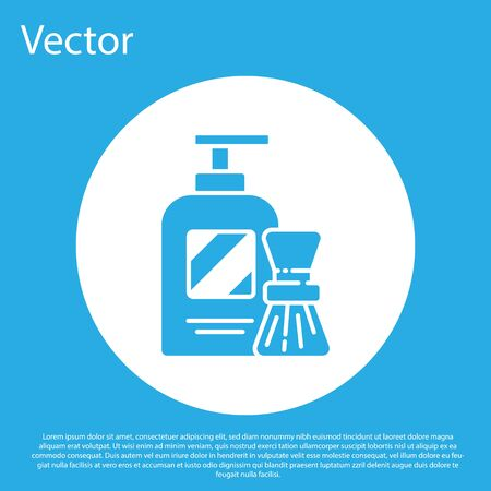 Blue Shaving gel foam and brush icon isolated on blue background. Shaving cream. White circle button. Vector Illustration. 写真素材 - 150458286