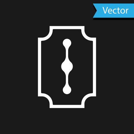 White Blade razor icon isolated on black background. Vector Illustration. 写真素材 - 150461321