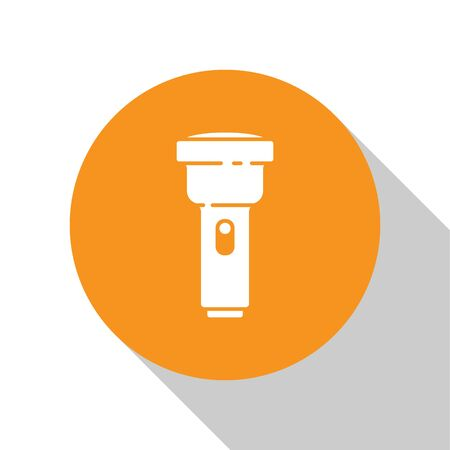White Flashlight icon isolated on white background. Orange circle button. Vector Illustration. Ilustração