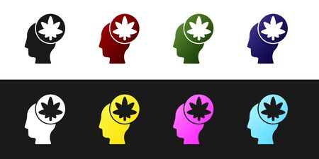 Set Male head in profile with marijuana or cannabis leaf icon isolated on black and white background. Marijuana legalization. Hemp symbol. Vector Illustration. Vettoriali