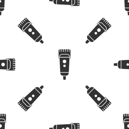 Grey Electrical hair clipper or shaver icon isolated seamless pattern on white background. Barbershop symbol. Vector Illustration. 写真素材 - 150458356