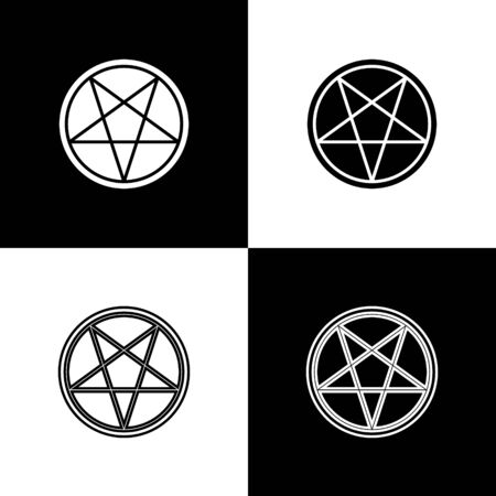 Set Pentagram in a circle icon isolated on black and white background. Magic occult star symbol. Vector Illustration. 写真素材 - 150455688