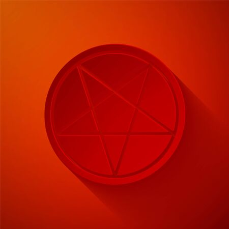 Paper cut Pentagram in a circle icon isolated on red background. Magic occult star symbol. Paper art style. Vector Illustration. Фото со стока - 150461627