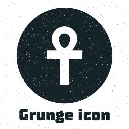 Grunge Cross ankh icon isolated on white background. Monochrome vintage drawing. Vector Illustration.