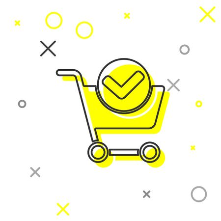 Grey line Shopping cart with check mark icon isolated on white background. Supermarket basket with approved, confirm, tick, completed. Vector Illustration.