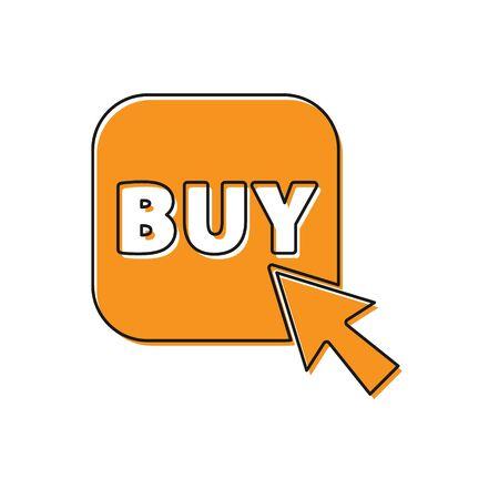 Orange Buy button icon isolated on white background. Vector Illustration.