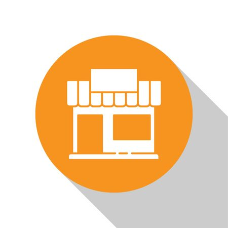 White Shopping building or market store icon isolated on white background. Shop construction. Orange circle button. Vector Illustration.