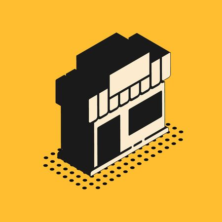 Isometric Shopping building or market store icon isolated on yellow background. Shop construction. Vector Illustration. Standard-Bild - 150458420