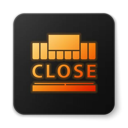 Orange glowing neon Shopping building or market store and text closed icon isolated on white background. Shop construction. Black square button. Vector Illustration.
