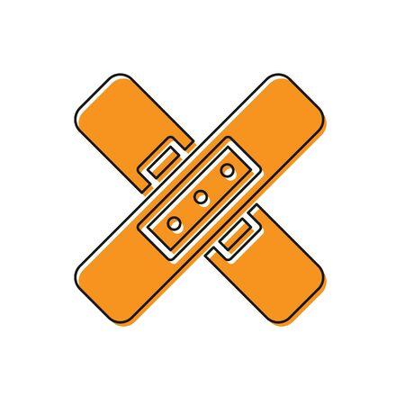 Orange Crossed bandage plaster icon isolated on white background. Medical plaster, adhesive bandage, flexible fabric bandage. Vector Illustration. Ilustração