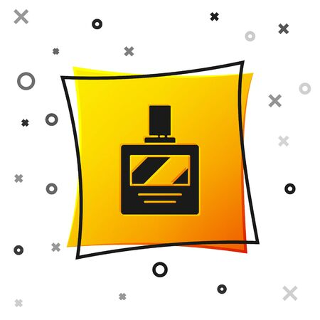 Black Aftershave icon isolated on white background. Cologne spray icon. Male perfume bottle. Yellow square button. Vector Illustration. 写真素材 - 150458678