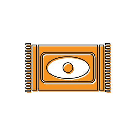 Orange Traditional carpet culture ramadan arabic islamic celebration icon isolated on white background. Vector Illustration.