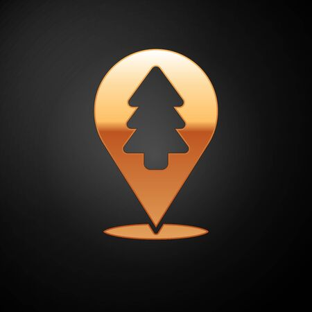 Gold Location of the forest on a map icon isolated on black background. Vector Illustration.