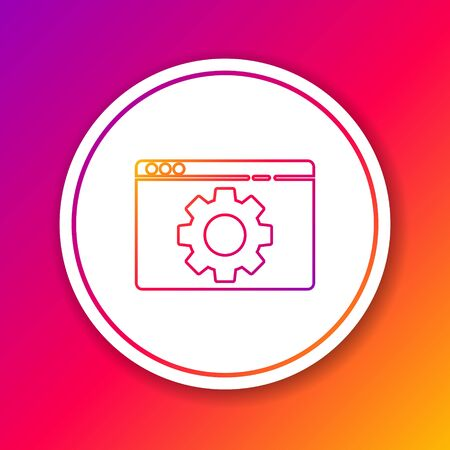 Color line Browser setting icon isolated on color background. Adjusting, service, maintenance, repair, fixing. Circle white button. Vector Illustration.