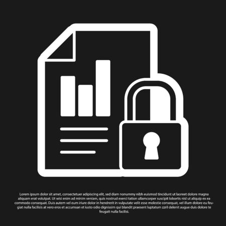 Black Document and lock icon isolated on black background. File format and padlock. Security, safety, protection concept. Vector Illustration. Vectores
