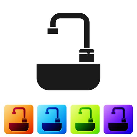 Black Washbasin with water tap icon isolated on white background. Set icons in color square buttons. Vector Illustration.  イラスト・ベクター素材