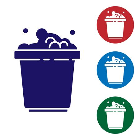 Blue Bucket with soap suds icon isolated on white background. Bowl with water. Washing clothes, cleaning equipment. Set icons in color square buttons. Vector Illustration. Ilustração